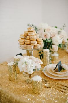 Sparkling tablescape: http://www.stylemepretty.com/2014/07/15/metallic-wedding-moments-we-love/