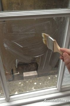 Lace window privacy- use acrylic glaze for permanence
