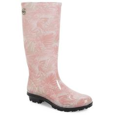 """UGG 'Shaye - Island' Floral Waterproof Boot, 1 1/2"""" heel (1,460 MXN) ❤ liked on Polyvore featuring shoes, boots, mid-calf boots, pink rubber, slip on boots, rain boots, mid heel boots, waterproof rain boots and floral rain boots"""