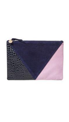Clare V. Patchwork V Flat Clutch I Made in the USA I Shopbop
