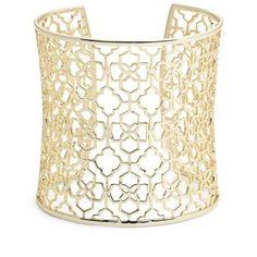Kendra Scott 'Aimee' Openwork Wrist Cuff ($100) ❤ liked on Polyvore featuring jewelry, bracelets, gold, cuff bangle, cuff jewelry, kendra scott jewelry, 14k jewelry and 14 karat gold jewelry