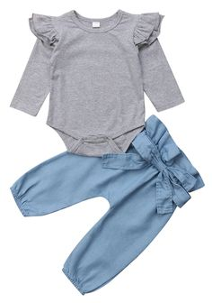 f050354a3eb SALE 40% OFF + FREE SHIPPING! SHOP Our Gray Denim Set for Baby Girls