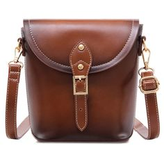 Vintage Buckle PU Leather Crossbody Bag ($99) ❤ liked on Polyvore featuring bags, handbags, shoulder bags, brown cross body handbags, buckle handbags, crossbody purses, brown handbags and vintage purses
