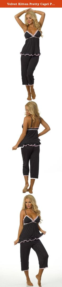Velvet Kitten Pretty Capri Pajama Set 553265 Large Black/Pink. Cute pajama set features a cami top with lightly lined cups, lace trim, adjustable straps, ruffled hem, front bow accent and matching capri pants with an elastic waistband. 95% Rayon, 5% Spandex. It makes a great holiday gift.