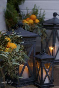 Christmas Front Door Holiday Home Oranges Lanterns Garland...