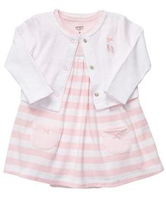 Carter's Baby Set, Baby Girls Striped Dress and Sweater - Kids Baby Girl (0-24 months) - Macy's