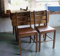 Chair Pair Mid Century Modern Curved Back by IndustrialPlanet, $182.00