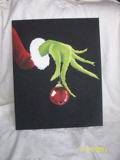 The Grinch Hand Painted canvas 16x20 by sweetpeapaint on Etsy