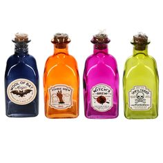 View Halloween Decorative Square Colored Bottles