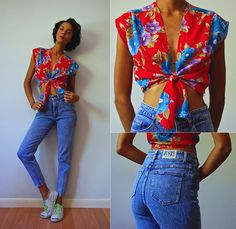 Vintage Crop Floral Tie Top, Just Jeans 80's High Waist Cigarette Jeans, Jack Purcell Sneakers
