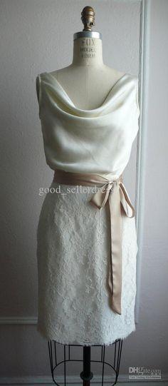 Wholesale Sheath Wedding Dresses Lace Sexy Little White Wedding Dresses Elegant Knee length Cowl Collar ribbon, Free shipping, $77.28-88.48/Piece | DHgate