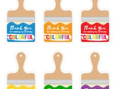 ART Theme printable tags asimplelifeandeverythingnice.com - Google Drive Art Party Foods, Printable Tags, Printables, Art Themes, 4th Birthday, Paper Flowers, Lily, Google Drive, Frame