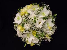 Stunning, eucharis with gyp, lisianthus and freesia hand tied bouquet www.weddingflowersbylaura.com