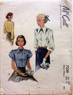 1940s blouse with puff, 3/4 or long sleeves McCalls 7239 partly cut vintage sewing pattern Bust 38 Waist 32 Hip 41 Retro 40s Mid Century era by 101VintagePatterns on Etsy