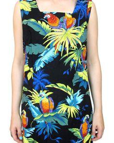 25% OFF SALE 80s 90s Parrot Print Dress Hawaiian by honeymoonmuse