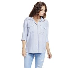 TWO BY VINCE CAMUTO CLASSIC STRIPE OVERSIZED UTILITY SHIRT - Vince Camuto