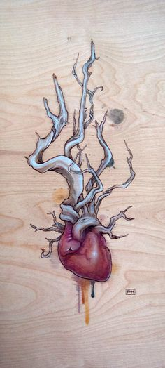 Driftwood Heart 03 by Fay Helfer Abstract Drawings, Art Drawings, Illustration Art, Illustrations, Medical Art, Anatomical Heart, Anatomy Art, Pyrography, Painting & Drawing