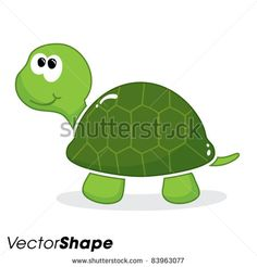 Happy little cartoon turtle smiling vector illustration