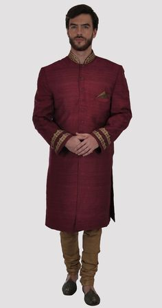 Maroon Tilla Zari Aari Embroidered Pure Raw Silk Sherwani Jacket