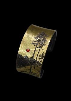 Sterling Silver Bracelets Wolfgang Vaatz: Morning Prayer, Cuff bracelet in yellow gold fused on sterling silver. Fabricated, carved and engraved. Ankle Bracelets, Silver Bracelets, Silver Earrings, Jewelry Bracelets, Jewelery, Silver Ring, Modern Jewelry, Metal Jewelry, Jewelry Art