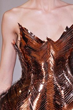 Iris van Herpen, Fall 2012 couture, too bad this is not wearable in daily life 3d Fashion, Fashion Details, Runway Fashion, High Fashion, Fashion Design, Origami Fashion, Metal Fashion, Iris Van Herpen, Copper Dress
