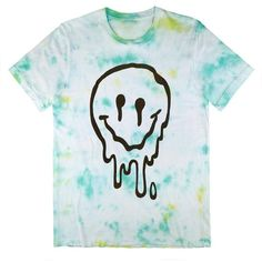 Killer Condo Melted Smiley Face Pastel Unisex Tie Dye T-Shirt ❤ liked on Polyvore featuring tops, t-shirts, tiedye t shirts, blue top, unisex tops, blue t shirt and tye dye t shirts