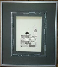 Lavis blanc contemporain de Marie Jeanne Balard sur un papier efalin anthracite