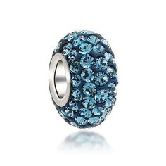 Bling Jewelry Blue Topaz Color Swarovski Crystal Bead Silver Fits Pandora