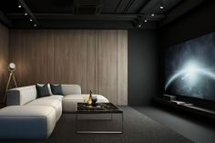 The KariGhars is the award winning best media room interior designers in Bangalore. Check out our luxury media room interior designs. Home Theater Room Design, Home Cinema Room, Home Theater Rooms, Room Interior Design, Modern Interior, Salas Home Theater, Beautiful Modern Homes, Media Room Design, Basement Renovations