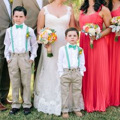 Ring bearers in suspenders and bow ties | Vienna Glenn Photography