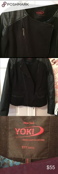 NWOT never worn motorcycle jacket w/ faux leather NWOT never worn moto jacket w/ faux leather and soft wool blend, zipper and pocket details~ very cozy Yoki Jackets & Coats