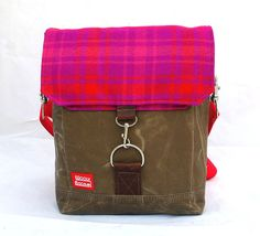 Waxed Canvas Satchel / Recycled Pink Plaid Wool by WoolyBison