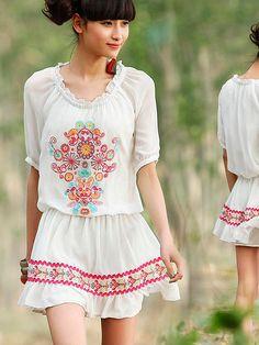 Light, airy, summer! | love daisy embroidery chiffon dress #asianicandy