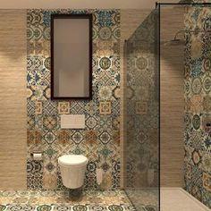 Nikea mix pattern tile set - Nikea Tile is a floor tile with a mixture of 27 random vintage victorian prints and colours with a - Best Bathroom Flooring, Bathroom Floor Tiles, Kitchen Backsplash, Bad Inspiration, Bathroom Inspiration, Bathroom Ideas, Bathroom Remodeling, Bathroom Design Small, Bathroom Interior Design