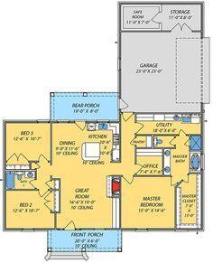 Acadian House Plan with Safe Room - floor plan - Main Level Acadian House Plans, Barn House Plans, Ranch House Plans, Dream House Plans, Small House Plans, House Floor Plans, Metal Building Homes, Building A House, Building Ideas