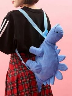 So cute green dinosaur plush shoulder bag! - For Kids and adults. Pretty Outfits, Cool Outfits, Fashion Outfits, Estilo Grunge, Kawaii Accessories, Kawaii Clothes, Cute Bags, Cat Valentine, Aesthetic Clothes