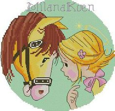 girl and horse cross stitch