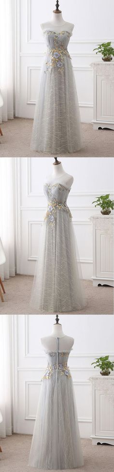 Gray tulle long sweet 16 prom dress, long flower appliques graduation dress #prom #dress #promdress #promdresses