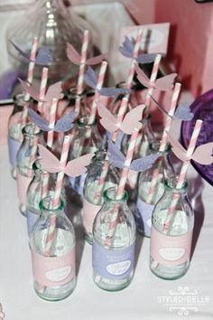 """adapt for dr seuss party w/ """"oh me oh my a butterfly"""" and with red/white straw and bright butterflies on bottles Butterfly Birthday Cakes, Butterfly Birthday Party, Butterfly Baby Shower, Butterfly Wedding, Straw Decorations, 6th Birthday Parties, Birthday Ideas, Diy, Woodland Theme"""