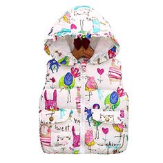 Mud Kingdom Girl's Animal Print Cute Hooded Vest Outerwear ** For more information, visit