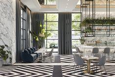 Velkoplošné materiály v tloušťce 6 mm se dají používat na zdi, fasády, svislé plochy kuchyňských skříněk, podlahu pouze soukromých, méně namáhaných prostor a v určitých případech, kdy se vyztuží materiál celoplošně tvrdým podkladem, i na kuchyňské, barové, recepční a další desky.  luxury, white, marble, bar, wall, large format, tile, natural color, design Resto Vegan, Carrara, Bed Story, Luxury Restaurant, Floor Patterns, Cafe Design, White Marble, Layout, Patio