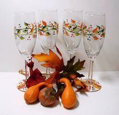 Image result for fall painted wine glasses