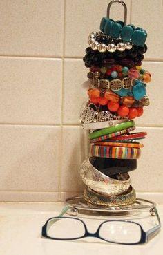 Paper towel holder = bracelet holder
