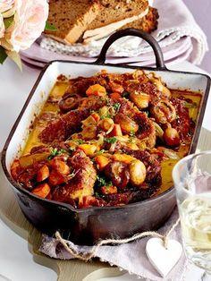 Diese #Schnitzel landen im #Ofen und werden sanft geschmort. Die Champinonsoße - einfach mhhhmmm...