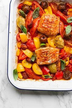 One-pan Cod with Roasted Heirloom Tomatoes and Chorizo