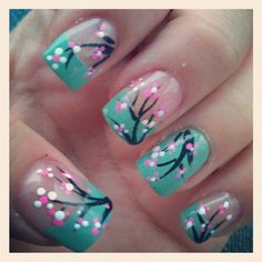 Cherry blossom nails (seem easy to recreate..what do you think ???)