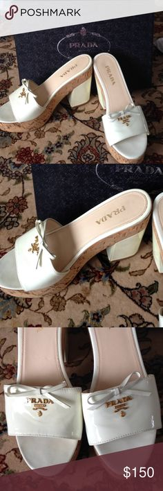 Prada shoes Used on my once Prada shoes comes with box dust bag and papers.   C15 Prada Shoes Mules & Clogs