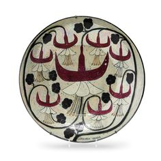 View A Glazed Stoneware Dish, Arabia, Finland Designed by Birger Kaipiainen; Ceramic Table, Ceramic Plates, Ceramic Workshop, Antique Plates, Pottery Plates, Pottery Designs, Stone Mosaic, China Painting, Floral Illustrations