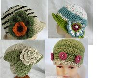 4 Crochet Baby Hat Patterns Brimmed With Flower Trim Instant Download Multi-Sized May Sell Finished