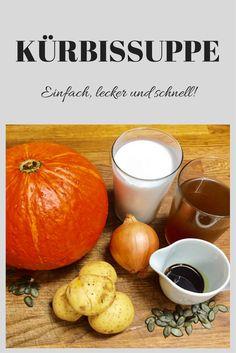 Kein Herbst ohne Kürbis! In jedem Supermarkt sehen wir z. Z. die unterschiedliche Kürbissorten. Sie werden in unseren Küchen zu unterschiedlichen Gerichten verarbeitet. Ein Klassiker ist die cremige Kürbissuppe. Für das folgende Rezept braucht ihr den Hokkaidokürbis. Dieser ist nicht nur besonders schnell und einfach zu verarbeiten (wird nicht geschält!), sondern er ist auch einer der nährstoffreichsten Kürbisse. #kürbisuppe #schnell #rezept #gericht #herbst #essen #suppe #kinderessen…